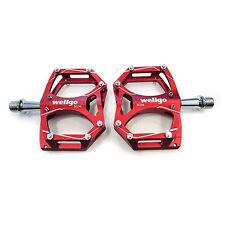 "Wellgo M194 Sealed Bearing Mountain Road Bike 9/16"" Aluminum Pedals - Dark Red"