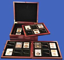 Display Box 24 Coin NGC/PCGS/Premier/Lil Bear Certified Wood  Mahogany Finish