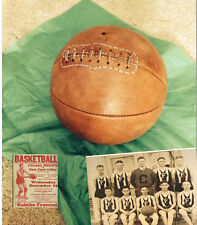 1915 Old Mantique Laced Leather Basketball - Naismith Style Distresed tan