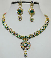 Designer Gold Plated Studded Stones Kundan Necklace Earrings Party Jewelry Set