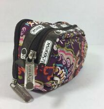 LeSportsac Classic Kevyn Cosmetic Case Purple Floral Zip Pockets Travel Size