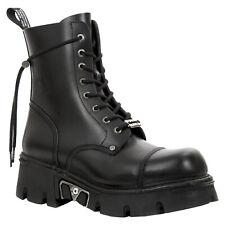 New Rock Metallic M-NEWMILI083-S23 Leather Platform Alternative Unisex Boots