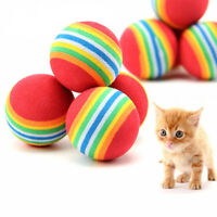 S/M/L Rainbow Cat Toy Ball Interactive Toys Play Chewing Training Pet Supplies