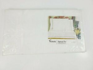 Vtg New Wamsutta Supercale Twin White/Pink Accent Sheet 100% Crisp Silky Percale