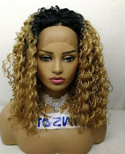 Ombre Brown Lace Front Wigs with Pre Plucked Remy Synthentic Brazilian Curly Wig