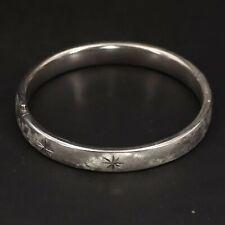 """Vtg Sterling Silver - Beau Diamond Cut Starburst 7"""" Hinge Bangle Bracelet - 18g"""