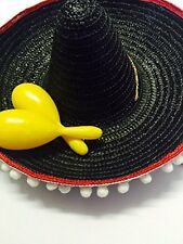 Mexican Black Sombrero Party Set Sombrero Bendable Moustache  Assorted Maracas