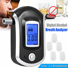 Digital LCD Police Breath Breathalyzer Test Alcohol Tester Analyzer Detector UK