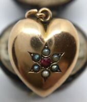 Antique Victorian Yellow Gold Gem & Pearl Set Locket Back Heart Pendant.