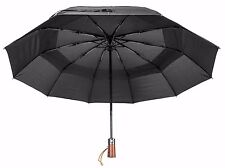 Men's Strong Compact Umbrella - 10 Ribs - Wind Resistant - Vented Canopy - Black