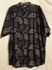 Keeler Bay mens button front shirt black and light gray leaf design size Large