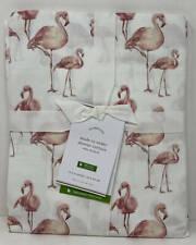 Pottery Barn Flamingo Print Organic Shower Curtain ~ 72 x 72 ~ Pink Multi