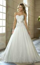 White ivory 2017  A-Line Lace-up Bridal Gown Chiffon Wedding Dress Size 6-16 hdg