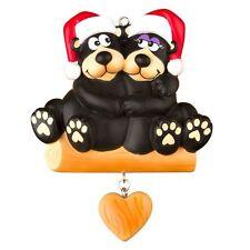 BLACK BEAR COUPLE Family Of 2 Personalized Christmas Tree Ornament X-mass Noel