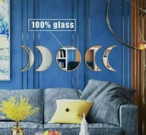 MAXROCK Glass Moon Phase Mirror Set, Clear Imaging Bohemian Decor Mirror, BEIGE