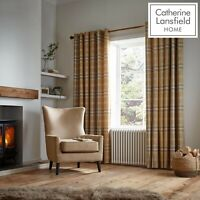 Catherine Lansfield Thermal Woven Check Fully Lined Eyelet Curtains Ochre