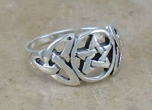 UNIQUE .925 STERLING SILVER CELTIC WICCAN PENTACLE RING size 8 style# r2112