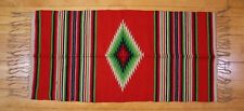 """Antique Vtg Red Green Mexican Saltillo Wool Woven Runner Blanket Rug 46"""" x 22"""""""