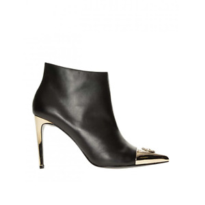 Versace Jeans Gold Branding Heeled Ankle Boots