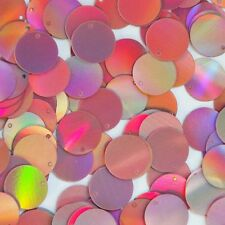 Round Sequin Paillettes 15mm Top Hole Pink Lazersheen Reflective Metallic