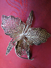 BROCHE ARGENT FILIGRANE ORCHIDEE années 50 - FILIGREE ORCHID SILVER BROCH
