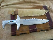 Vintage American South West Style massive bowie knife eagle head inlaid handle
