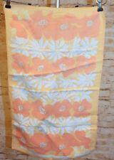 Vtg 70s Chris Bash Floral Flower Retro Orange Hand Print Kitchen Linen Tea Towel