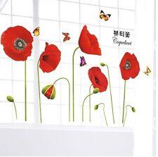 Poppy Flower & Butterfly Wall Decals Adhesivos Mural De Vinilo De Papel Hogar Arte Decoración