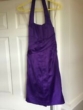 KAREN MILLEN PARTY / PROM DRESS SIZE 10 HALTER NECK PURPLE SATIN BOW AT BACK