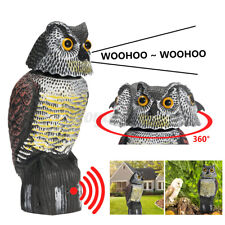 More details for garden realistic owl decoy statue with rotating head & sound shadow control uk