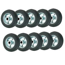 Set of 10 - 100mm Rubber Wheels Plain Bore - Replacement trolley wheels Coldene