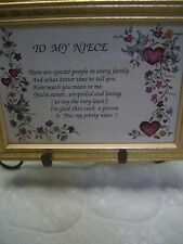 """To My Niece"" Poem Small Wall Plaque/Gold-tone Wood Frame/6"" x 8"""