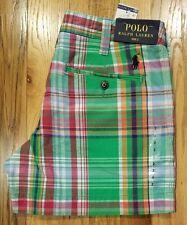 Polo Ralph Lauren Womens Pony Logo Plaid Chino Linen Blend Shorts Green/Red Sz 2
