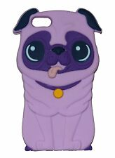 Purple Silicone Pug Shar Pei Dog Puppy Phone Case / Cover for Apple Iphone 4 / 4