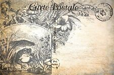 Postcard French Vintage Shabby Chic Style, Art Sketch, Frog, Toad, Floral, 68J