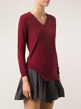 CARVEN burgundy red fine knit contrast flared dress M