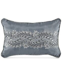 "Croscill Seren Chenille Damask Jacquard 12"" x 18"" Boudoir Decorative Pillow Blue"