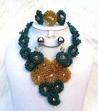 Cheap Teal Green & Gold Design Party African Nigerian Beads Jewellery Set