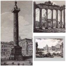 Piranesi & Rossini - Three Large Architectural  Prints -Vedute Di Roma