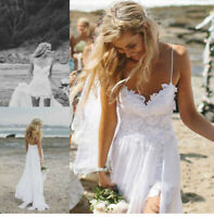 Spaghetti Straps Wedding Dress Lace Applique Long Split Beach Bridal Gown US4-14