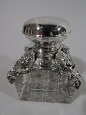 Kerr Inkwell - 886 - Antique Art Nouveau Inkpot - American Sterling Silver Glass