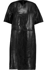 $5,376 AUTH NWT RICK OWENS Black Textured-leather and shearling coat Sz IT40