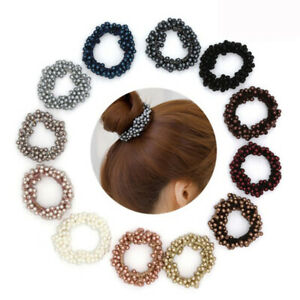 Elastic Scrunchie Ponytail Holder Fashion Faux Pearl Beads Hair Band Ties Rope