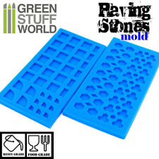 Pack x2 MOULES en silicone PAVÉ- modélisme texture miniature échelle résine 40k