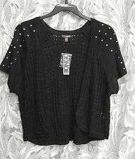 WOW~BLACK STUDDED OPEN FRONT/WEAVE KNIT CARDIGAN JACKET SWEATER SHRUG TOP~2X~NEW