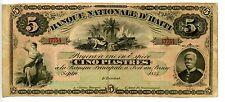 Haiti ... P-72 ... 5 Gourdes ... 1875 ... *F*
