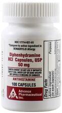 Diphenhydramine 50 mg Allergy Medicine Generic Benadryl 100 Capsules per Bottle