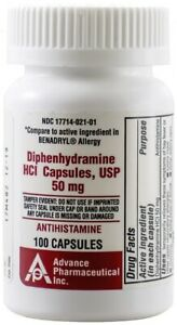 Generic Benadryl Nighttime Sleep-Aid Diphenhydramine 50mg 100 Capsule per Bottle