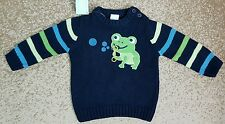 Gymboree Boys Hoppy Frog Bubbles Navy Blue Sweater Size 6-12 Months NWT