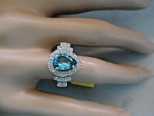 14k Solid Yellow Gold Blue London Topaz and Natural Diamonds Ring